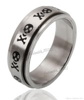 Stainless Steel black stainless steel spinner rings - 8MM Titanium Stainless Steel Black Skull Spinner Men Ring Band Size New
