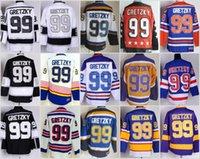 Wholesale Nylon King - Los Angeles Kings 99 Wayne Gretzky Throwback Jerseys Hockey St. Louis Blues LA Los Angeles Kings Vintage Blue White Black Yellow Orange