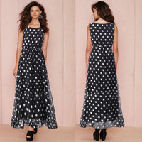 Wholesale Maxi Skirt Dotted - Dot Chiffon Dress Girls Party Dress Summer Dress Women Summer Sexy Sleeveless Dot Decor Print Maxi Long Party Cocktail Skirt Chiffon 8023#