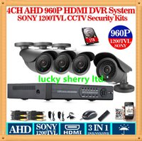 Wholesale Dvr Channel 3g Wifi - CIA-HD 1200TVL 4ch CCTV system 3G WIFI 4 channel FULL 960p record AHD DVR kit 1080p output 4pcs security camera system with 1TB HDD