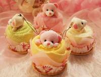 oso de peluche de toalla al por mayor-Precioso oso de peluche Toalla de la torta 30 * 30 cm mini toalla Boda Navidad Regalos de cumpleaños de San Valentín Baby shower favorece recuerdos del regalo
