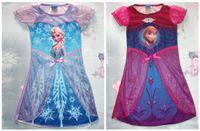 Wholesale Tutus Girls Night - New Arriva Toddler Girls Costume Frozen Elsa Anna Princess Pajamas Night Gown Shirt Dresses Baby Dress Princess Skirt Lace Flower Tutu Dress
