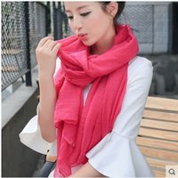 Wholesale Long Spring Scarf For Women - 2015 Long All Match Female Literary Pure Linen Scarf Shawl Scarves Dual-purpose Korean wholesale For Spring And Winter