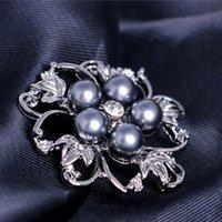 ingrosso spilla da sposa da sposa-Perle di spilla fiore di cristallo perline corpetti per gli uomini da sposa da sposa spilla spilla in argento placcato gioielli di moda argento nave da pioggia 170282