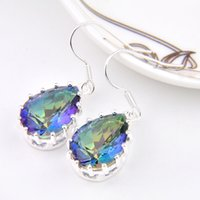 Wholesale Bright Colored Chandeliers - 6 Pairs Luckyshine Bright Drop Colored Fire Mystic Topaz Gems 925 Sterling Silver Plated Drop Earrings Russia Canada Drop Earrings Jewelry