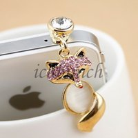 Wholesale Iphone Fox Anti Dust Plug - Wholesale-1x Fox Shape Crystal Strass 3.5mm Earphone Headset Anti Dust Plug Cover For Samsung Galaxy S4 i9500 S3 iPhone 5 4S Free Shipping
