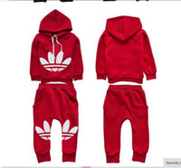 Wholesale Girls Red Tracksuits - 2015 brand New autumn tracksuit kids clothing hoodies set children sport suit costumes boys girls sweatshirt+pants fleece