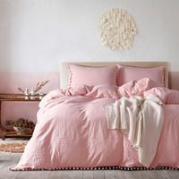 Wholesale Closure Homes - Duvet Cover Set-Washed cotton Bedding Set with Zipper Closure Microfiber Bedding Set with Furry Little Balls-3Piece set (1Quilt+2Pillowcas)