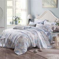 Wholesale Floral Duvet King - Wholesale-2015 New Arrival Summer Tencel Silk Women's Bedding Set 4 pieces Floral Quit Comforter Duvet Cover Flat Sheet and 2