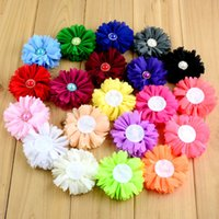 Drop shipping 20pcs / lot Kids Head Flower Flower Summer Neon Chiffon Flowers with Pearl Center для DIY Baby Headbands Аксессуары для волос HA0411