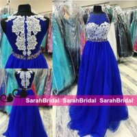 2016 Royal Blue Long Prom Dresses com Sheer Crew Neck e Iridescent Sparkly Rhinestone Beads Bordado Comprimento Completo para Adolescentes Vestido formal