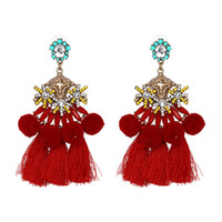 Wholesale Dangling Hair Accessories - 2017 Hot Sale Hair Bulb Tassel Top Design Earring Retro Earring Setting Without Stone Folk Style Earring Accessory Free Shipping 50154