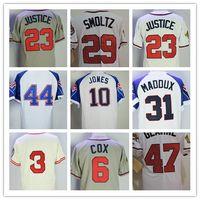 Wholesale Atlanta Baseball Jersey - Throwback Atlanta Baseball Jerseys 44 Hank Aaron 3 Dale Murphy 31 Greg Maddux 29 John Smoltz 10 Chipper Jones 47 Tom Glavine Jerseys