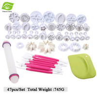 Wholesale Rolling Tools Cake Decorating - 47pcs Set Mixed Fondant Embossing Tools Cookie Cake Decorating Plunger Cutter Set+Rolling Pin+Baking Scraper Cake Spatula, dandys