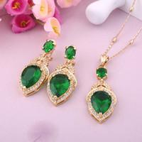 Wholesale Gem East Earrings - WesternRain Green Austrian Gem pendant 18K Gold Plated Necklace Pendant & Earrings Party Jewelry set A552