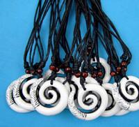 Wholesale Hawaiian Maori Bone - Wholesale lots 12pcs Imitation Yak Bone Carved White Spiral Fishhook Hawaiian Maori Hook Pendant Necklaces Gift
