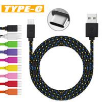 câble usb tressé en nylon achat en gros de-Câble Micro USB S8 S7 Câbles tressés en nylon haute vitesse Chargement de type C Données de synchronisation Données durables 3FT 6FT 10FT en nylon
