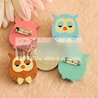 Wholesale Wholesaler Wooden Jewelry Accessories - Hot Jewelry Pin Cartoon Badge Brooch New 2015 Lovely Children's Accessories Uccessor Owl School Badge Wooden Pin Cartoon Wooden Pins A4408