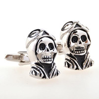 Wholesale Skull French Cuffs - Explosion Models Cufflinks New Skull with Cap Silver To make the old Wholesale French Cufflinks Unisex Copper Alloy CZ