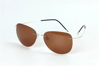 óculos de designer de titânio sem aro venda por atacado-Nova Marca Designer de Óculos de Ultra-luz Pura Memória Titânio Sem Aro Flexível Óculos De Sol Polarizados Das Mulheres Dos Homens de Óculos 10 Pçs / lote