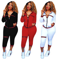Wholesale Ladies Zip Jacket - Womens Casual Fashion Autumn Long Sleeved Two-piece Jogger Set Ladies Fall Tracksuit Sweat Suits Jacket + Pants