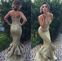 Wholesale mermaid prom dresses for sale - 2017 Hot Sale Gold Mermaid Prom Dresses Sweetheart Sequins Backless Formal Evening Party Gowns For Arabic Custom Made