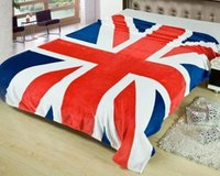 Wholesale Wholesale Throw Blankets Uk - 30PCS New Union Jack British UK flag flanne home travel blanket on bed, 150CMX200CM throw, US flag blankets LA33-6