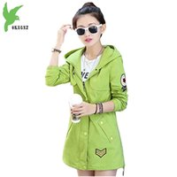 Wholesale women s trench coat pattern - Wholesale- Women Spring New Cotton Trench Hooded Windbreaker Fashion Solid Color Casual Tops Plus Size Students Outerwear Coats OKXGNZ A585