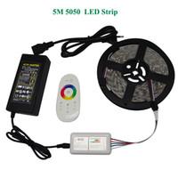 esnek dokunmatik şerit toptan satış-DC12V 5050 LED Şerit Su Geçirmez RGB RGBW Led Işık Esnek Bant + Dokunmatik Uzaktan Kumanda + 12 V Güç Adaptörü Kiti En İyi Kalite