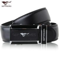Wholesale Septwolves Free Shipping - SEPTWOLVES fashion Genuine leather belt for Men black Business Belts Cowskin Luxury Automatic Buckle Belts casual Waist Belt Free Shipping