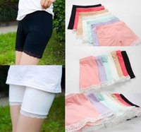 Wholesale Chinese Summer Pants - summer fashion girls cotton short leggings lace short leggings for girls lace safety pants shorts baby girl short tights
