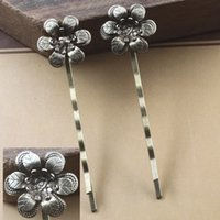 Wholesale China Wholesale Hair Flowers - 18*5MM antique bronze plated copper 3D filigree flower charm hairwear, hair accessories wholesale china, hair pins and clips lot