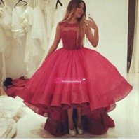 Wholesale High Low Couture Dresses - 2015 Myriam Fares Couture Dazzling Jewel High Low Organza Ball Gown Hot Pink Prom Dresses Tiered Formal