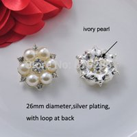 Wholesale Rhinestone Embellishments Loop - Wholesale-(J0295) 26mm metal rhinestone embellishment flat back or with loop,silver or light rose gold plating,ivory or pure white pearl