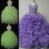 Wholesale Toddler Rhinestone Ball Gown Dresses - Real Picture Little Girl's Pageant Dresses Glitz 2015 Toddler Halter Crystals Lavender Green Ruffle Baby Dress For Kid Party Prom Ball Gowns