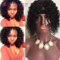 Wholesale big virgin black lady online - 7A Virgin Indian Glueless full lace human hair wigs short curly wig lace front human hair bob wigs with baby hair for black