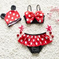 Wholesale Bikini Girls Hats - Retail Kid girls 2 pieces bikini swimming suit Minnie dots bow cartoon swimsuit beach clothing with hat 2-10Y 6001