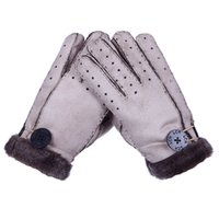 Wholesale Gloves Hole - Wholesale-Winter Warm Unisex Gloves Faux Fur Handmade Gloves Fashion Warm Thicken Solid Color Mittens Button Decoration with Air Holes c-1
