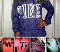 Wholesale long sweatshirts - Pink Letter Hoodies Love Pink Jacket Women Pink Sweatshirts Letter Print Pullover Hoodie Fashion Shirt Coat Long Sleeve Sweater 5pcs AP01