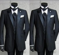 2018 Real Photo One Button Nero Smoking da sposo Smoking in raso con risvolto Best man Groomsman Uomo Abiti da sposa Bridegroom (Jacket + Pants + Vest)