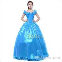 Wholesale Cinderella Costumes Adults - 2016 Latest Women Blue Princess Cinderella Dress Movie Cosplay Cinderella Dresses With Butterfly Costumes For Adult