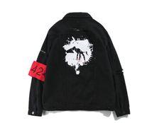 Wholesale Vintage Coat Xs - Black Jean Jacket Men Autumn New Vintage Hip Hop High Street Coats Single Breast Clothes Tops Outwewear