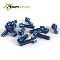 Wholesale tapered head screw - ROCKBROS Bike Screws Bicycle Bolts Titanium Ti Bolt Screw M5 x 18mm Taper Head Conical Head Blue 10pcs lot