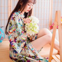 Wholesale Silk Print Robe - Wedding Pajamas Japanese Silk Robe Kimono Bridesmaid Robes Print Flowers 2016 Nightdress Sleepwear Broken Flower Kimono Underwear Opp Bag