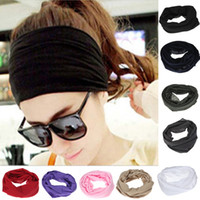 Vente en gros-Hot Sale Polyester Headband Neck Tube Multifunctional Beanie Snood Head scarf Foulards Face Bandanas Wrap Cycling Sport