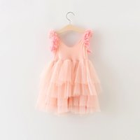 Wholesale Lace Knee Length Ruffle Layer - New Princess Tulle Party Dress For Girls Lace Dresses Petal Sweet Girl Fairy Clothing Summer Sleeveless Layer Gauze Dresses Pink A7137
