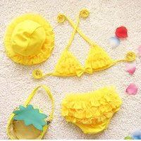Baby Bikini Swimsuit Baby Girl Cute Three-piece Small Medium Large Kids Swimsuit Дети Плавание Одежда Cap Bra Bikini Suit
