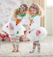 Wholesale reindeer set - Baby Girl Christmas Sets 2pcs Suits T-shirt+Leggings Pants Reindeer Sweater Rainbow Striped Leggings Pants Xmas Outfits Children Clothing