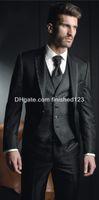 Wholesale mens red suit vest - Hot Sale Slim Fit One Button Black Groom Tuxedos Notch Lapel Groomsmen Best Man Mens Wedding Suits (Jacket+Pants+Vest+Tie) G963
