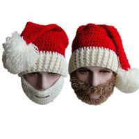 Wholesale santa hat beanie - Wholesale-2015 fashion red white wool knit Santa Claus christmas beanies hat beanie ski face mask set for men women unisex free size